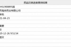江苏海岸药业奥氮平片进入行政审批阶段将过评