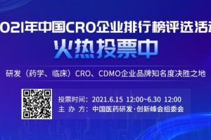 """@医药人:""""2021年中国CRO企业排行榜""""评选活动投票开始啦"""